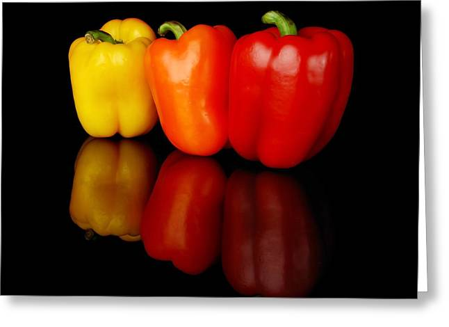 Three Bell Peppers Greeting Card by Jim Hughes
