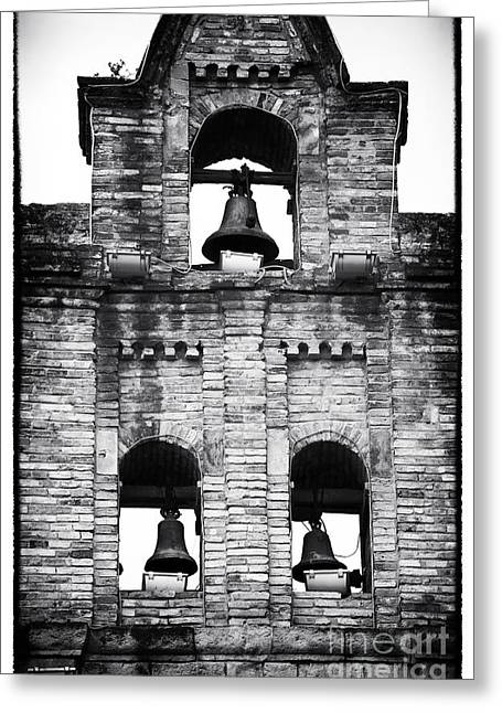Gallery Three Greeting Cards - Three Bells in Sopo Greeting Card by John Rizzuto