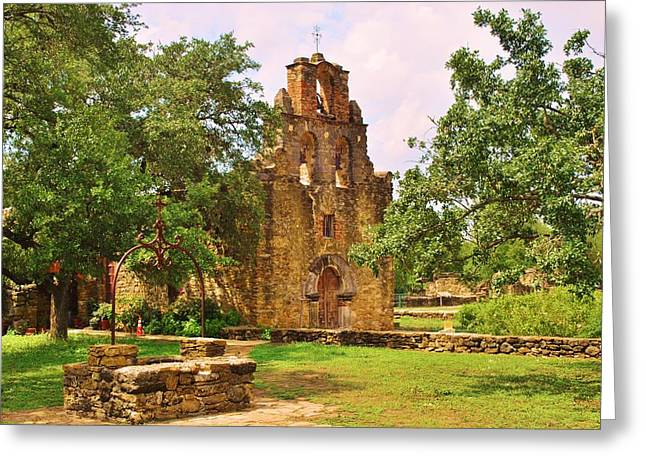 Christain Cross Greeting Cards - Three Bells Mission Greeting Card by Richard Jenkins