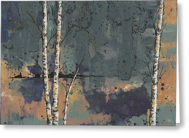 Birch Tree Greeting Cards - Three Birches Greeting Card by John Wyckoff