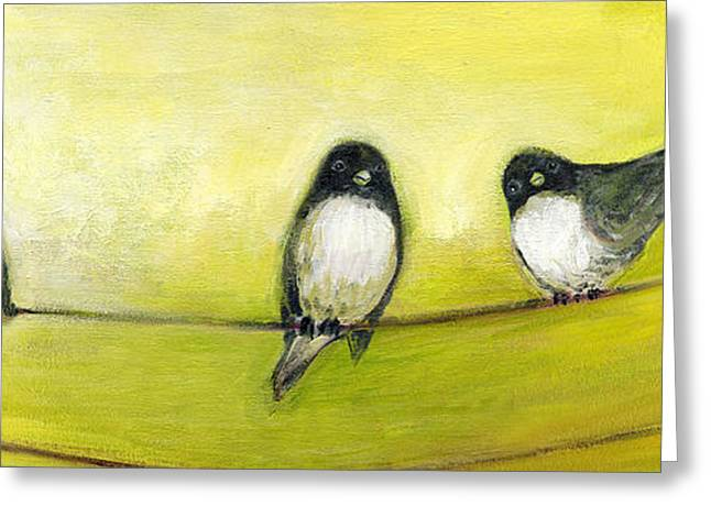 Trio Greeting Cards - Three Birds on a Wire No 2 Greeting Card by Jennifer Lommers