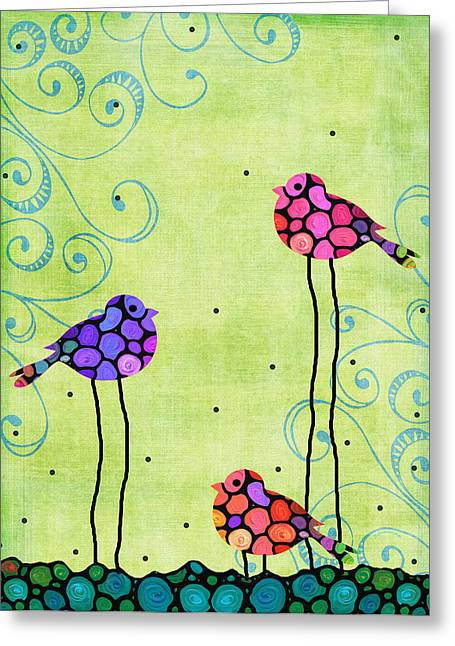 Whimsical Mixed Media Greeting Cards - Three Birds - Spring Art By Sharon Cummings Greeting Card by Sharon Cummings