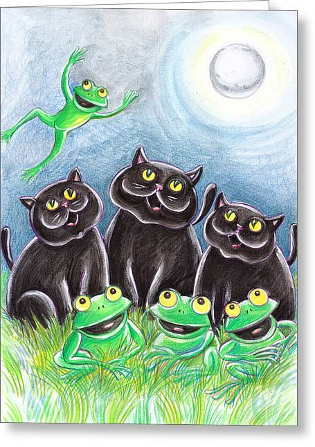 Amphibians Pastels Greeting Cards - Three Black Cats And A Frog Greeting Card by Loris Bagnara