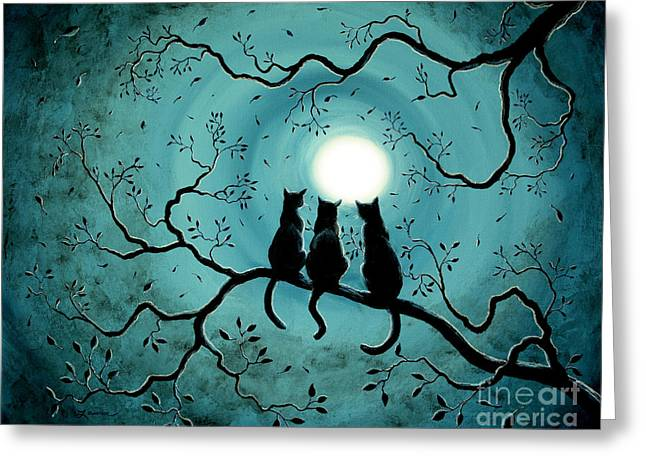 Tree Surreal Greeting Cards - Three Black Cats Under a Full Moon Greeting Card by Laura Iverson