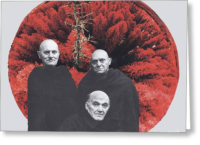 Monk Mixed Media Greeting Cards - Three Blind Mice Greeting Card by Elizabeth Hoskinson