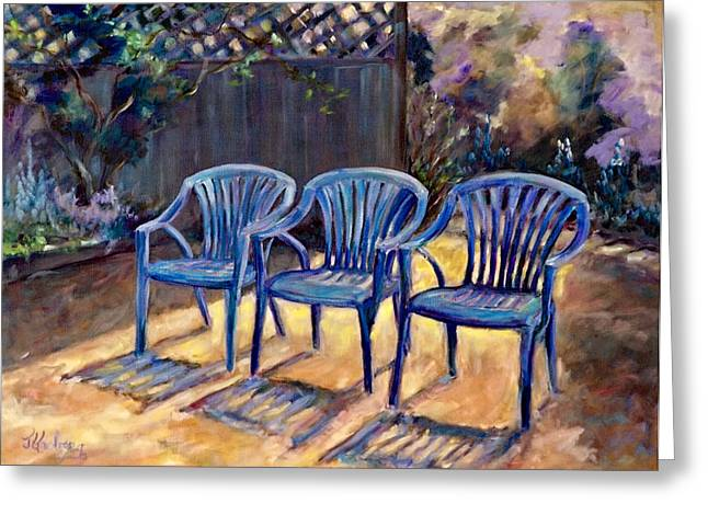 Lawn Chair Greeting Cards - Three Blue Chairs Greeting Card by Jean Groberg