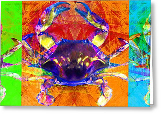 Fish Digital Greeting Cards - Three Blue Crabs 20140206 Greeting Card by Wingsdomain Art and Photography