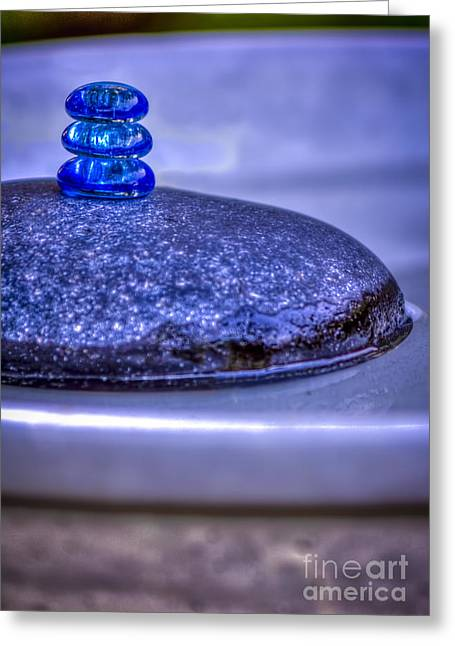 Colored Stones Greeting Cards - Three Blue Stones Greeting Card by Marvin Spates