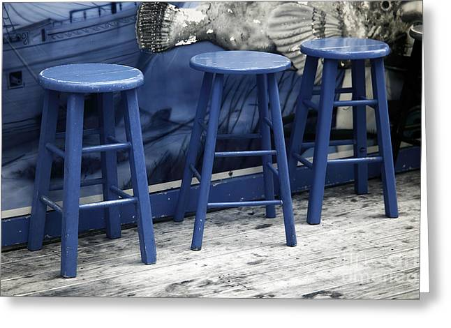 Seaside Heights Greeting Cards - Three Blue Stools infrared Greeting Card by John Rizzuto