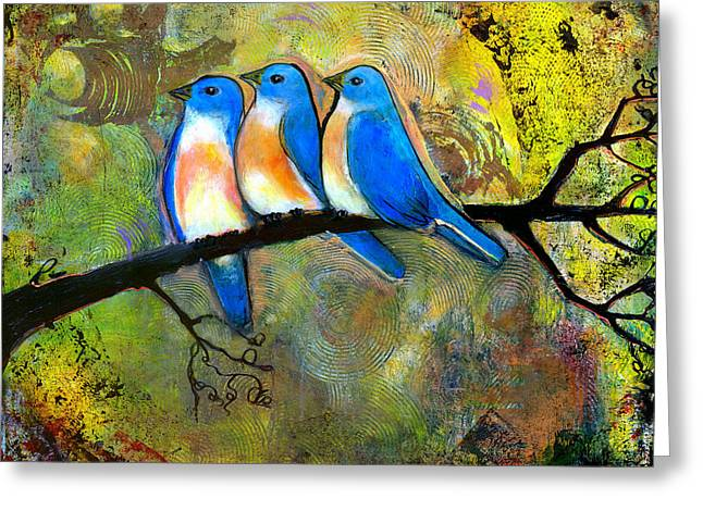 Textured Artwork Greeting Cards - Three Little Birds - Bluebirds Greeting Card by Blenda Studio