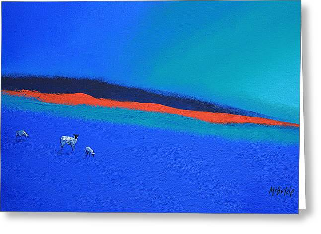Three Blues And A Red Greeting Card by Neil McBride