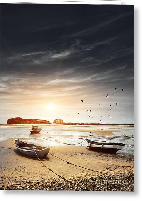 Atlantic Beaches Greeting Cards - Three Boats Greeting Card by Carlos Caetano
