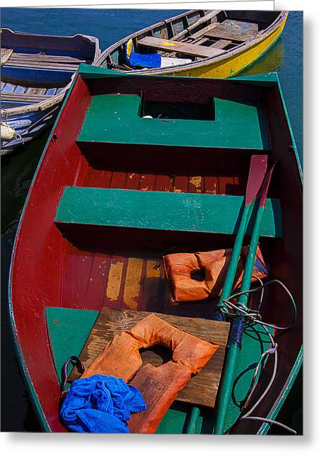 Dingy Greeting Cards - Three Boats Greeting Card by Garry Gay