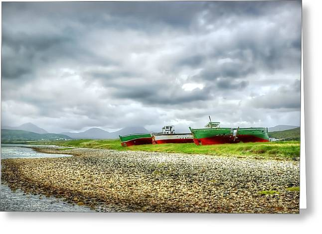 Hdr Landscape Greeting Cards - Three Boats Greeting Card by Kim Shatwell-Irishphotographer
