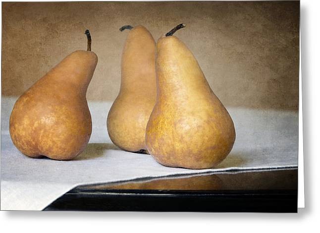 Table Cloth Greeting Cards - Three Bosc Pears - Traditional Still Life Greeting Card by Nikolyn McDonald
