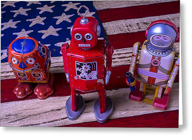Robotic Life Greeting Cards - Three Bots Greeting Card by Garry Gay