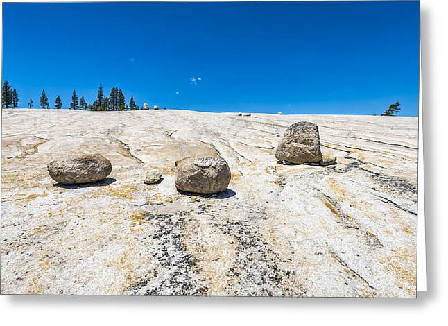 Rock Slope Greeting Cards - Three Boulders Greeting Card by Joseph S Giacalone
