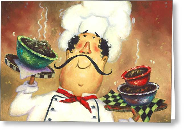 Vickie Wade Paintings Greeting Cards - Three Bowl Chef Greeting Card by Vickie Wade