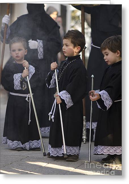 Holy Week Greeting Cards - Three boys at the procession Greeting Card by Perry Van Munster