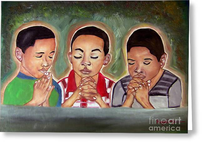 Boy Praying Greeting Cards - Three Boys Praying Greeting Card by Rory Ivey