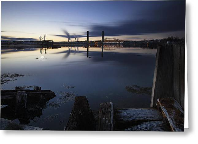 Maine Shore Greeting Cards - Three Bridges Greeting Card by Eric Gendron