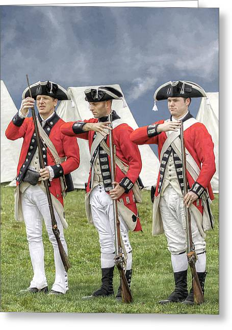 Loyalist Greeting Cards - Three British Soldiers Revolutionary War Greeting Card by Randy Steele