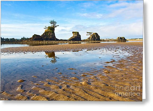 Panoramic Ocean Greeting Cards - Three Brothers Rock Formation near the Oregon coast Greeting Card by Jamie Pham