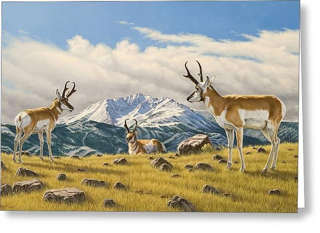 Three Bucks On The Ridge Greeting Card by Paul Krapf