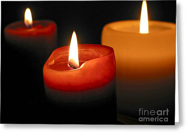 Wax Greeting Cards - Three burning candles Greeting Card by Elena Elisseeva
