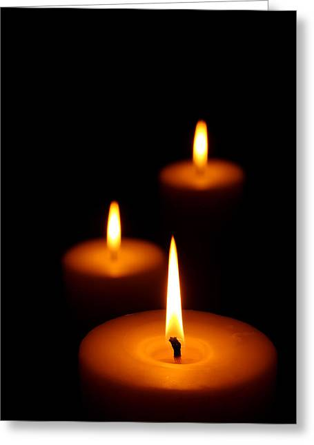 Darkness Greeting Cards - Three Burning candles Greeting Card by Johan Swanepoel