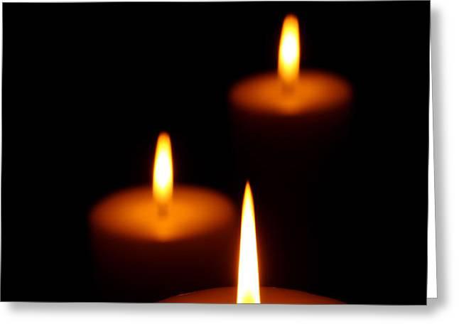 Three Burning candles Greeting Card by Johan Swanepoel