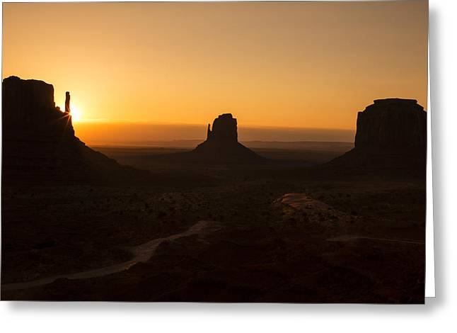 Sunrise Greeting Cards - Three Buttes Sunrise Greeting Card by Garry Gay