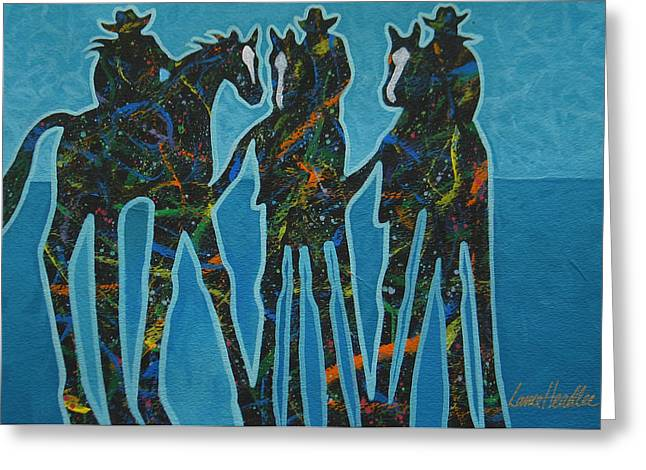 Cowgirl Greeting Cards - Three By The Sea Greeting Card by Lance Headlee