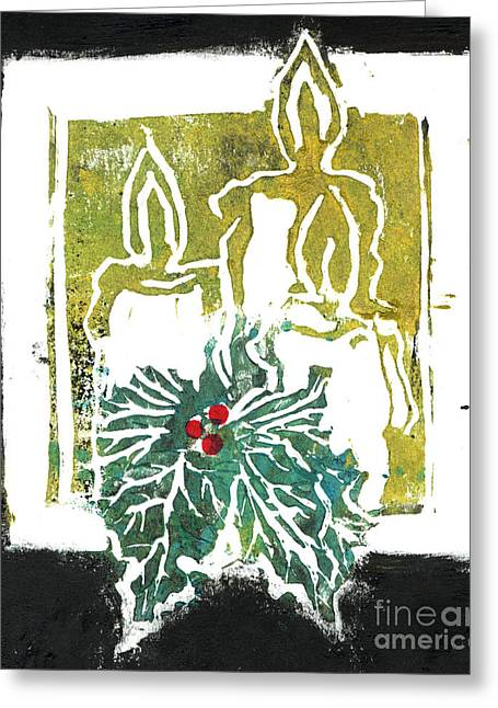 Positive Negative Design Greeting Cards - Three Candles and Holy Sprig Greeting Card by Ellen Miffitt