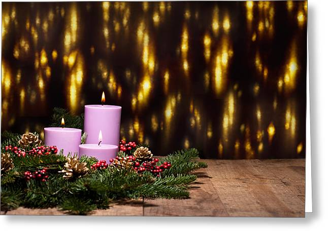Fir Trees Greeting Cards - Three candles in an advent flower arrangement Greeting Card by Ulrich Schade