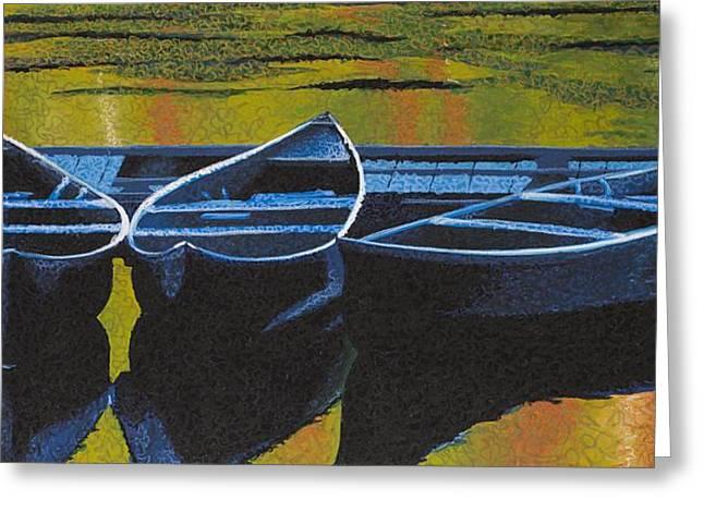 Canoe Pastels Greeting Cards - Three Canoes Greeting Card by C Ryan Pierce