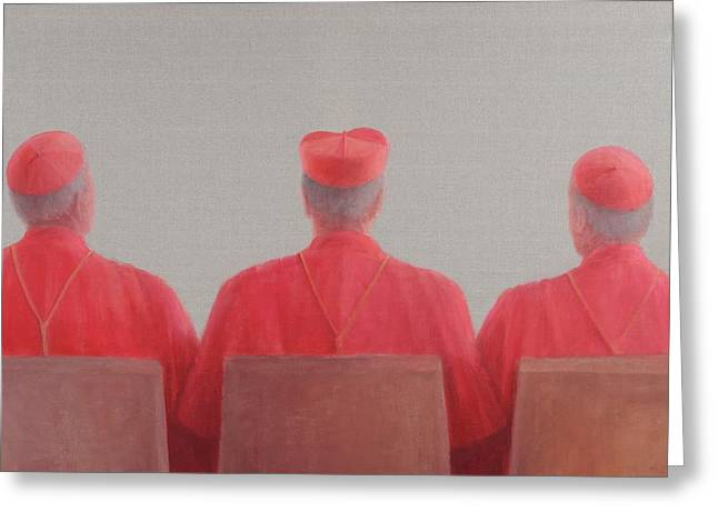 Habits Greeting Cards - Three Cardinals Ii, 2012 Acrylic On Canvas Greeting Card by Lincoln Seligman