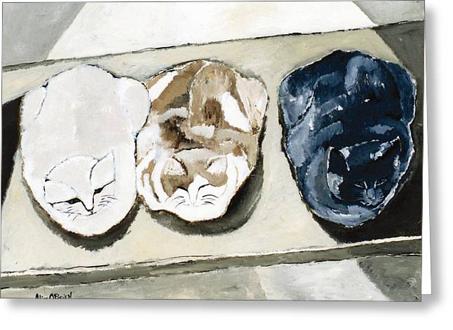 Pet Therapy Greeting Cards - Three Cats Greeting Card by Allison  Fauchier