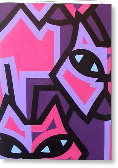 Acrylic Art Greeting Cards - Three Cats Greeting Card by John  Nolan