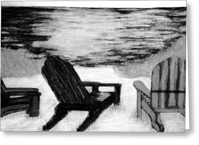 Adirondack Chairs On The Beach Greeting Cards - Three chairs Greeting Card by Bradley Warner
