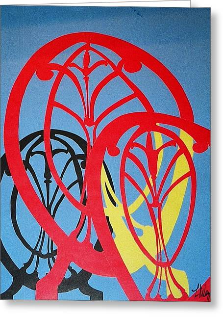 Abstract Style Greeting Cards - Three Chairs Greeting Card by Hal Weyant