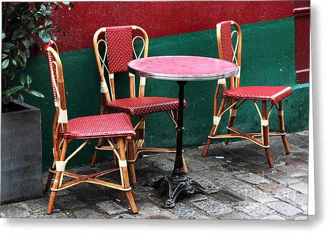 Gallery Three Greeting Cards - Three Chairs in Paris Greeting Card by John Rizzuto