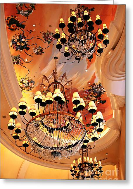 Three Chandeliers Greeting Card by John Rizzuto