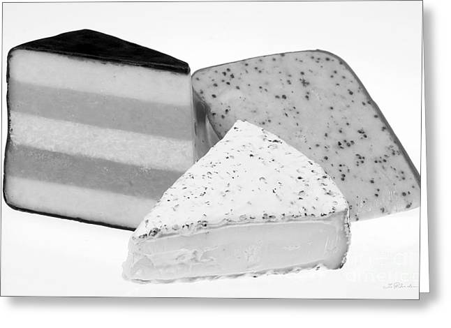 Party Food Greeting Cards - Three Cheese Wedges Black and White Greeting Card by Iris Richardson