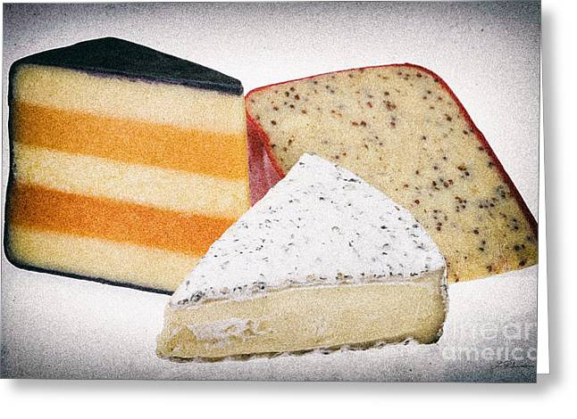 Party Food Greeting Cards - Three Cheese Wedges Distressed Greeting Card by Iris Richardson