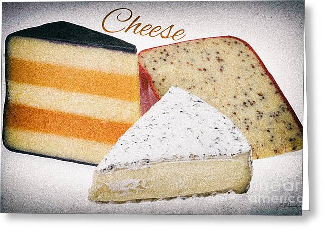 Party Food Greeting Cards - Three Cheese Wedges Distressed Text Greeting Card by Iris Richardson