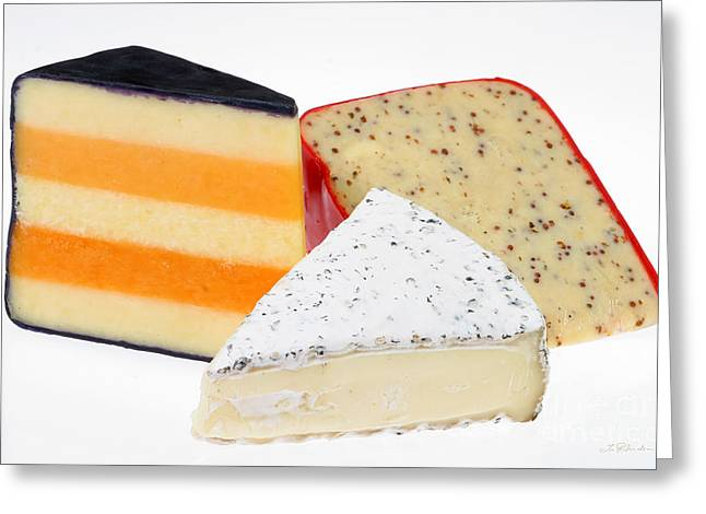 Party Food Greeting Cards - Three Cheese Wedges Greeting Card by Iris Richardson