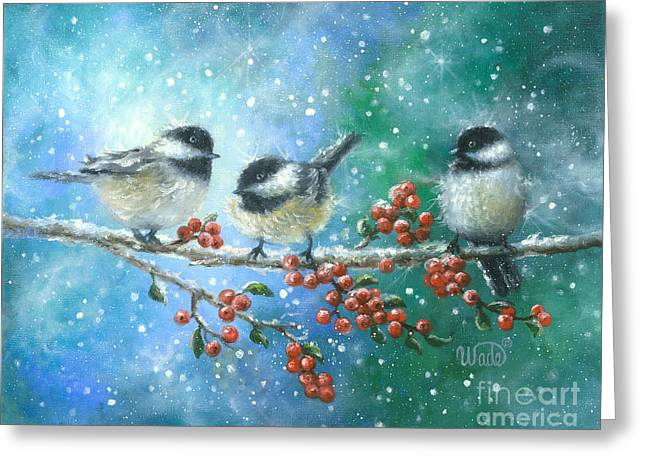 Vickie Wade Paintings Greeting Cards - Three Chickadees Greeting Card by Vickie Wade