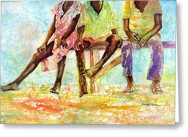Native Peoples Greeting Cards - Three Children of Ghana Greeting Card by Hailey E Herrera