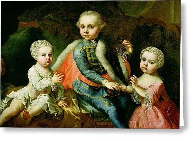 Baby Sister Greeting Cards - Three Children Seated On A Sofa, Said Greeting Card by Johann Georg Weikert